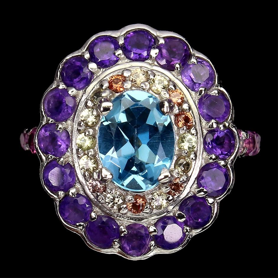 Amazing Genuine Swiss Blue Topaz Sapphire & Amethyst Statement Ring