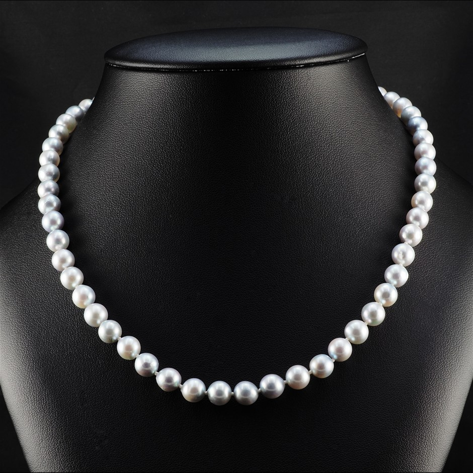 9ct White Gold, 30.20gm Pearl Necklace
