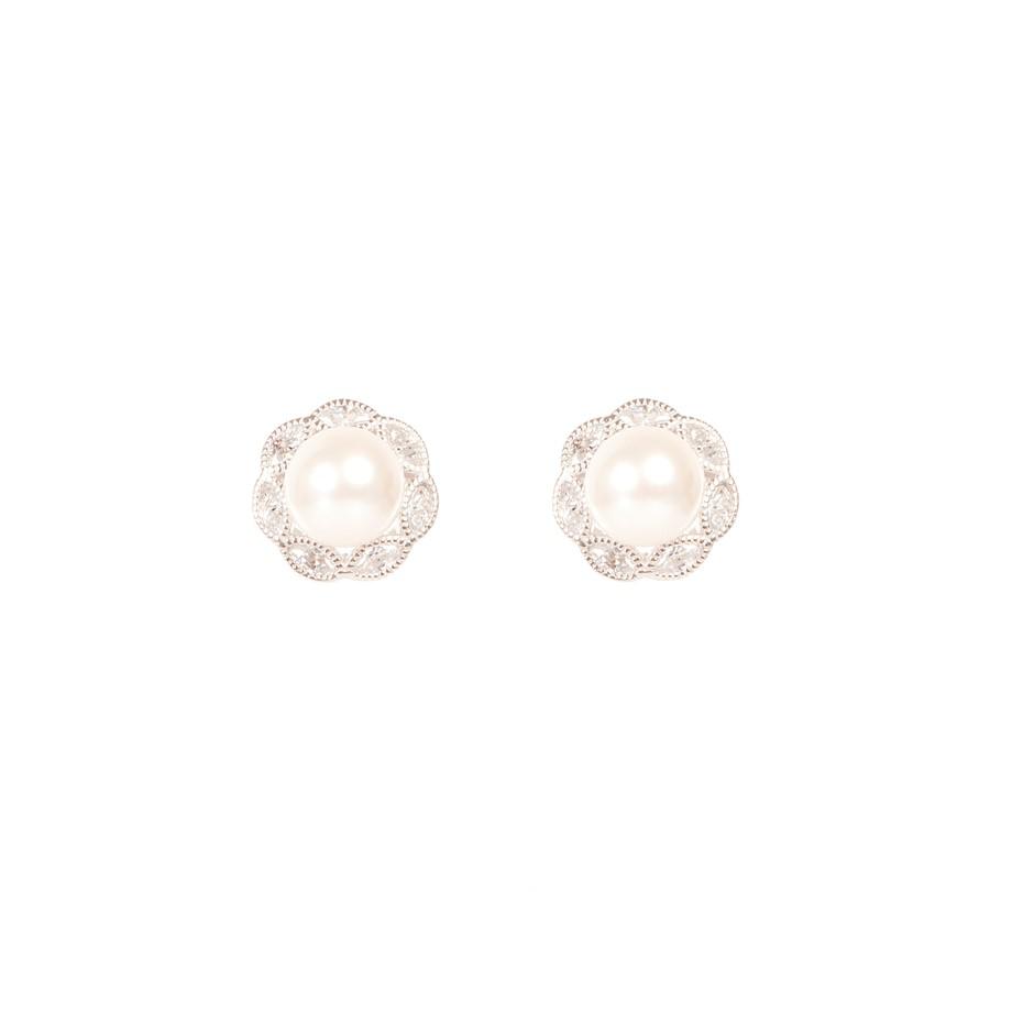 Freshwater Pearl & CZ Set Silver Earrings