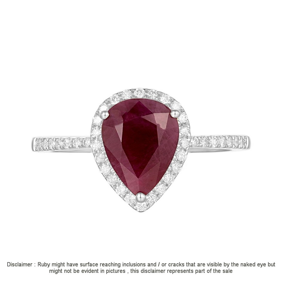 9ct White Gold, 2.20ct Ruby and Diamond Ring