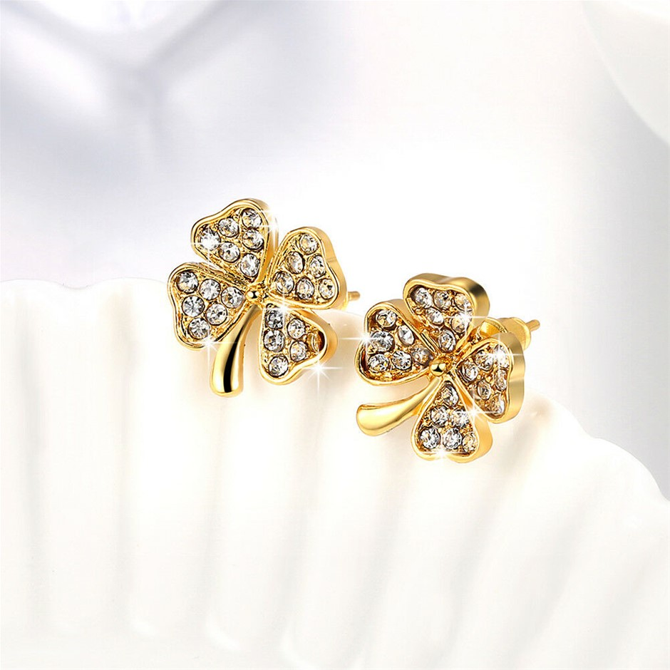 18K Gold Filled Clear CZ Crystal Clover Stud Earrings