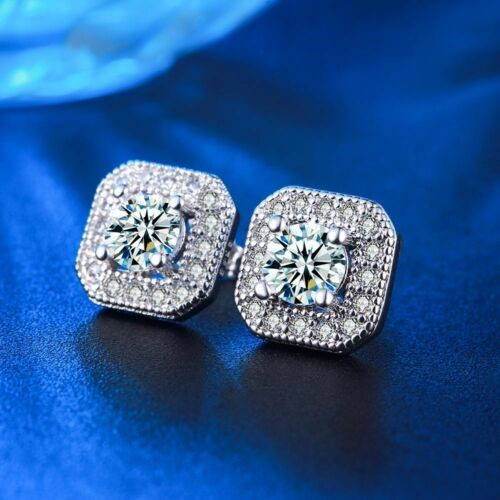 18K White Gold Filled Clear CZ Crystal Square Stud Bride Earrings