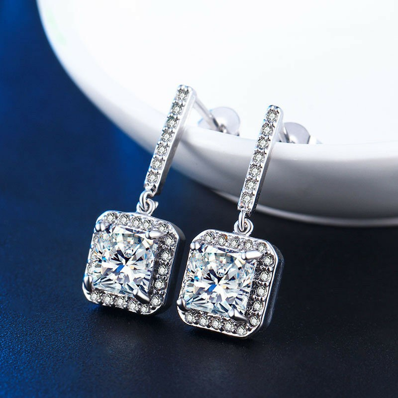 118K White Gold Filled CZ Crystal Square Stud Drop Bride Earrings
