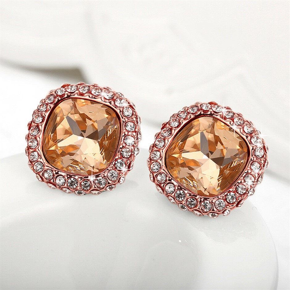 Classic 18K Rose Gold Filled Champagne Crystal Stud Earrings Party