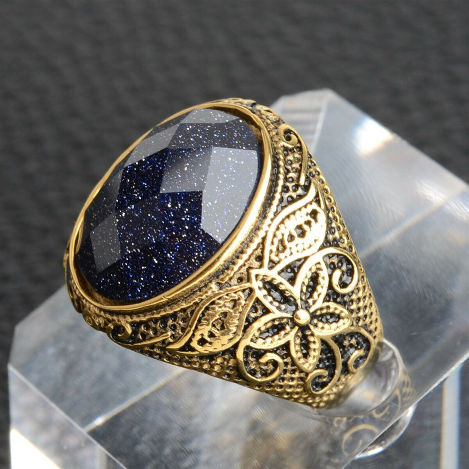 Surgical Steel Titanium Gold Tone Flower Carving Setting Purple Stone Rings