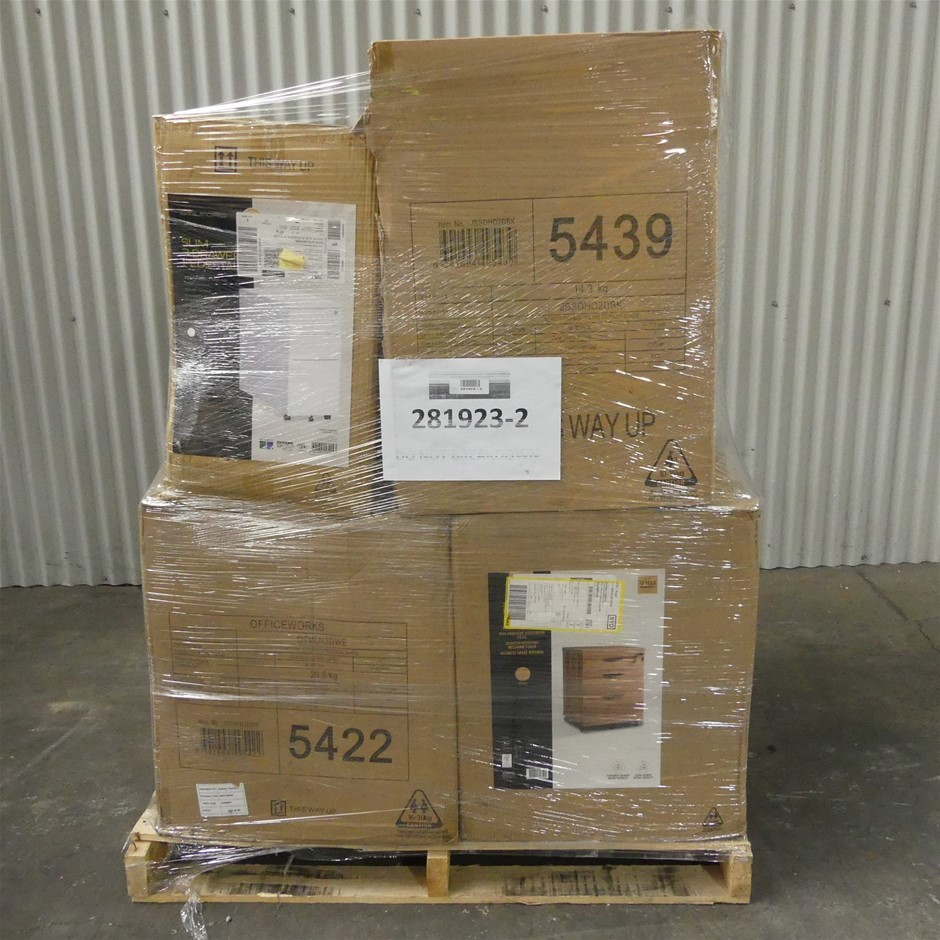 Pallet of Office Equipment - Pedestal Drawers, Filing Cabinets
