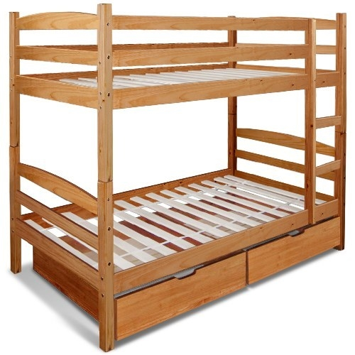 Buy Twin Over Twin Bunk Bed Solid Timber With Drawers Ladder Honey Brown Grays Australia
