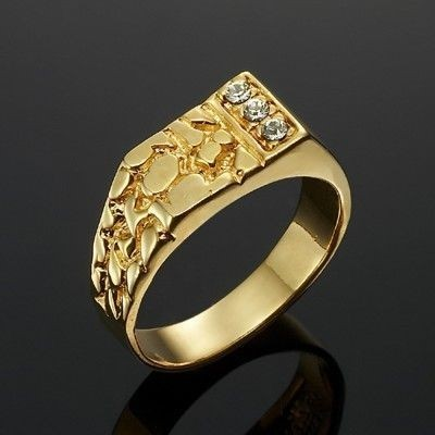 Stunning Yellow Gold Plated Men's Ring - US Size 12