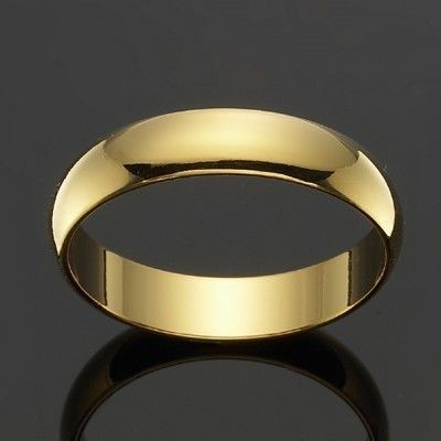 18ct Yellow Gold Plated Men's Band Ring (5mm) - US Size 13
