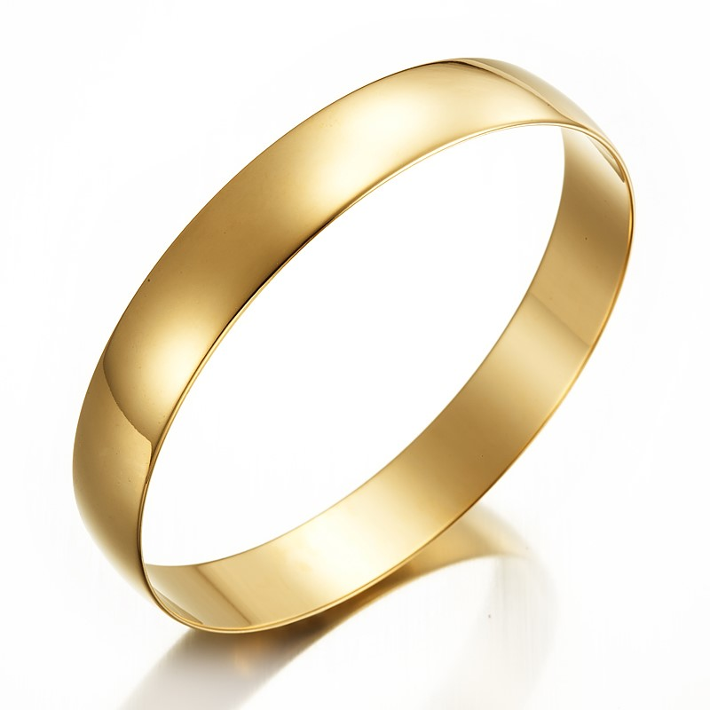 18ct Yellow Gold Plated Plain Bangle - DEMO (May contain imperfections)
