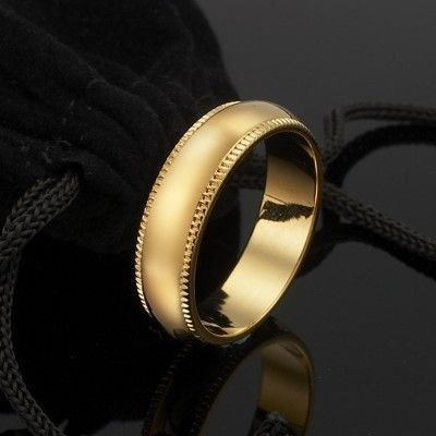 18ct Yellow Gold Plated Men's Etched Band Ring (6mm) - US Size 12