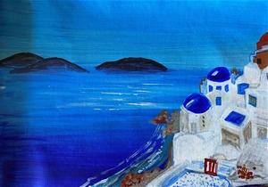 Santorini Blues - Original paintedl artw