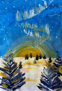 Aurora Antartic- Original paintedl artwo