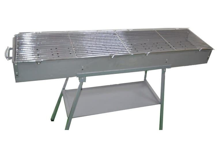 WILLBBQ Stainless Steel Long & Wide Grill BBQ Freestanding 120 x 26 x 13 cm