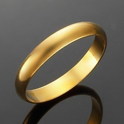 18ct Yellow Gold Plated Men's Band Ring (4mm) - US Size 11