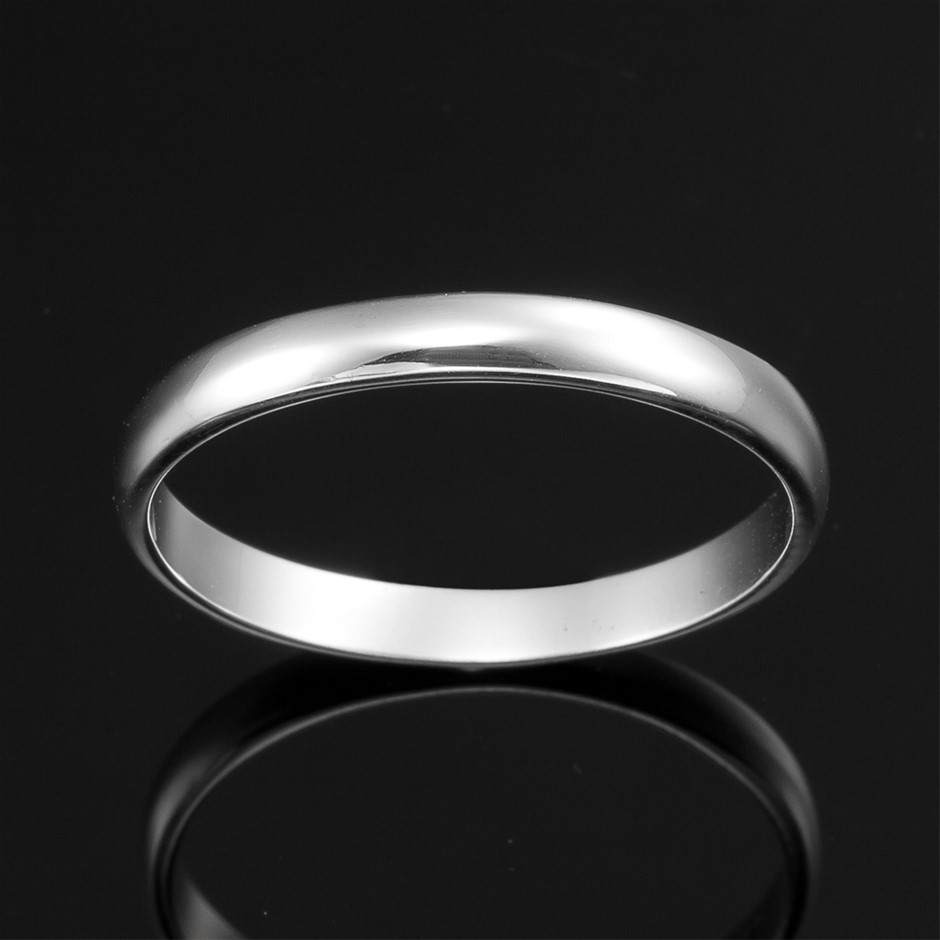Solid 925 Sterling Silver Mens Band Ring - US Size 10