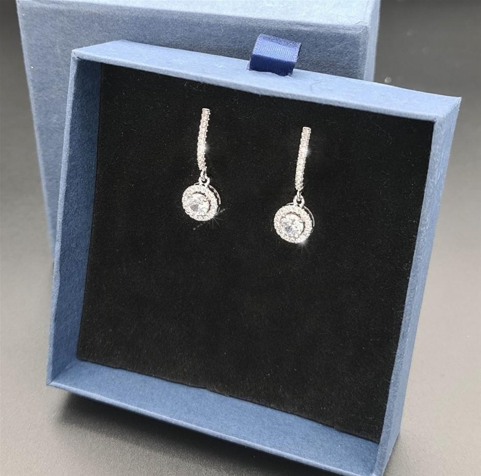 Stunning Simulated Diamond Round Drop Earrings