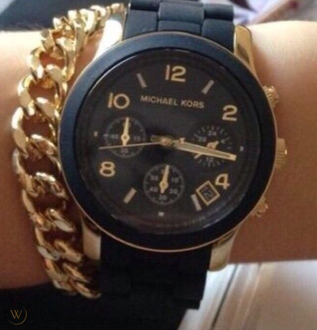 New Michael Kors Couture NY 'Runway' ceramic chrono watch.