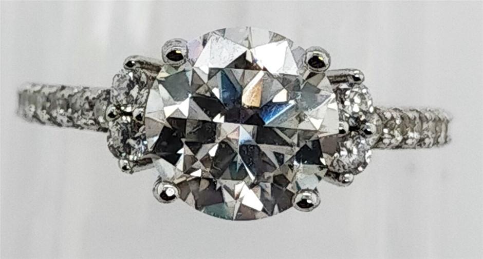GRA Certified White Moissanite 1.80 Carats D - VVS1 Sterling Silver Ring