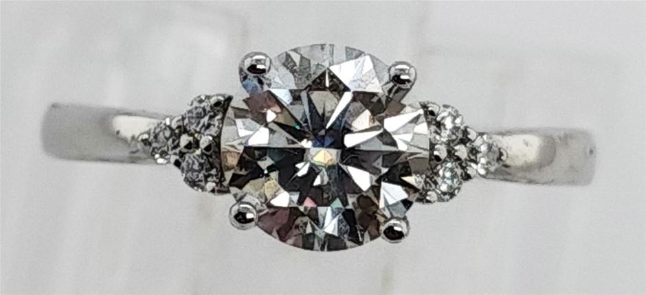 GRA Certified White Moissanite 0.99 Carat D - VVS1 Sterling Silver Ring