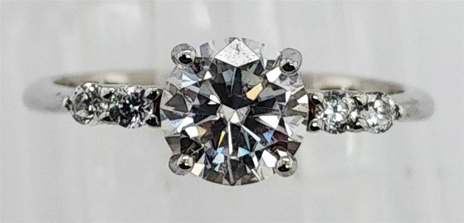 GRA Certified White Moissanite 0.93 Carat D - VVS1 Sterling Silver Ring