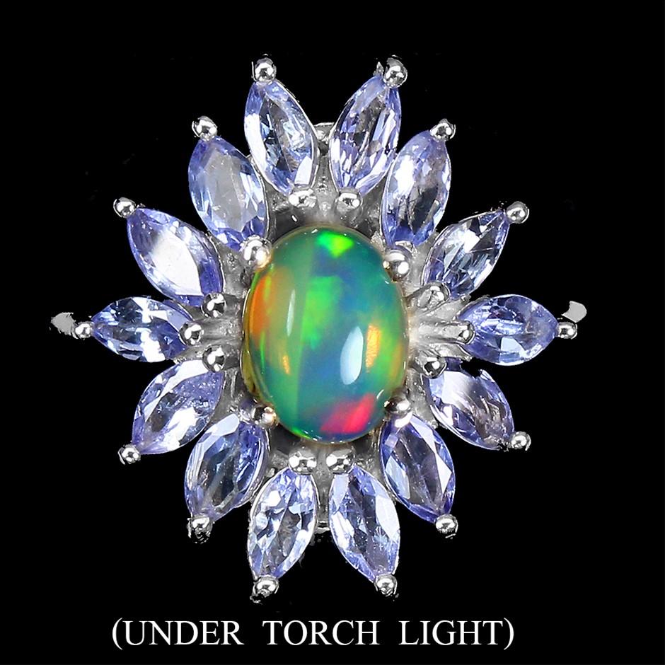 Stunning Genuine Tanzanite & Fire Rainbow Opal Statement Ring.