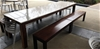 Large Banquet Table with White Granite Top and 2 x Timber Bench Seats