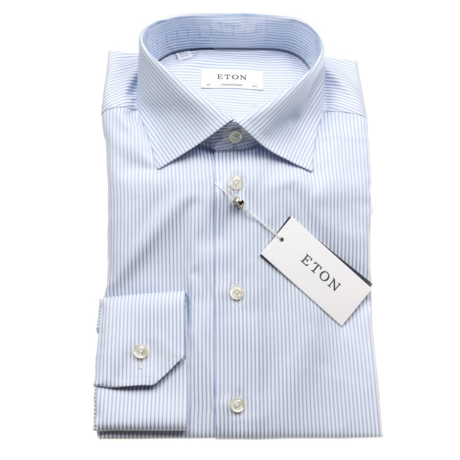 ETON Men`s L/S Shirt, Size 41, Cotton, Colour: Blue/White Stripe $275. N.B.