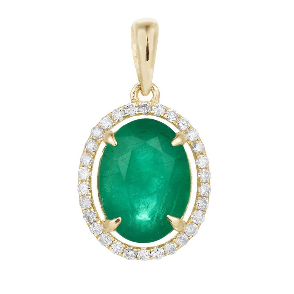 9ct Yellow Gold, 2.44ct Emerald and Diamond Pendant