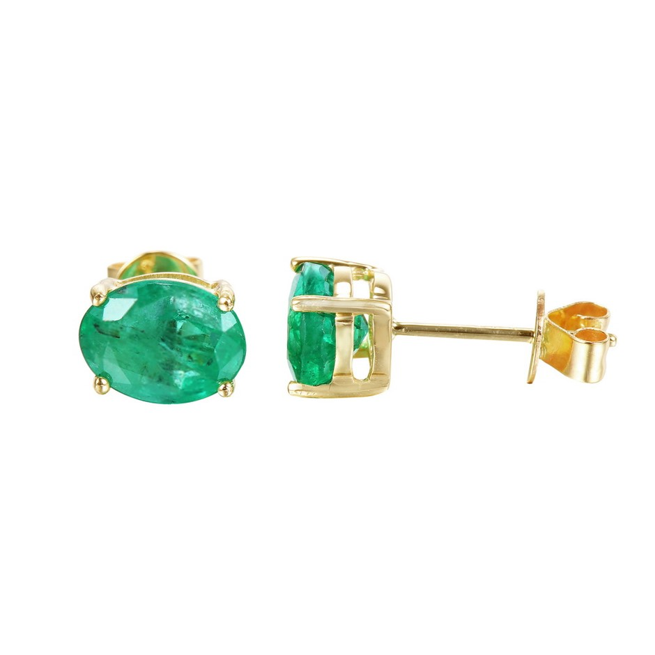 9ct Yellow Gold, 2.22ct Emerald Earring