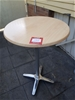 Café table wood grain round top,