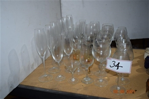 Lot of 35 Assorted Wine Glasses and Flut