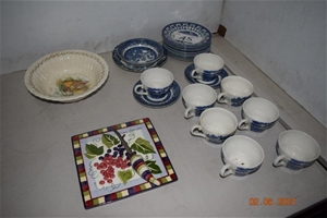 Lot of 27 Assorted Plates, Cups and Sauc