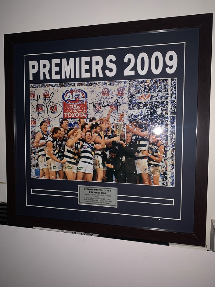 Geelong Cats 2009 Premiers Signed & Framed By Mark Thompson & Tom Harley