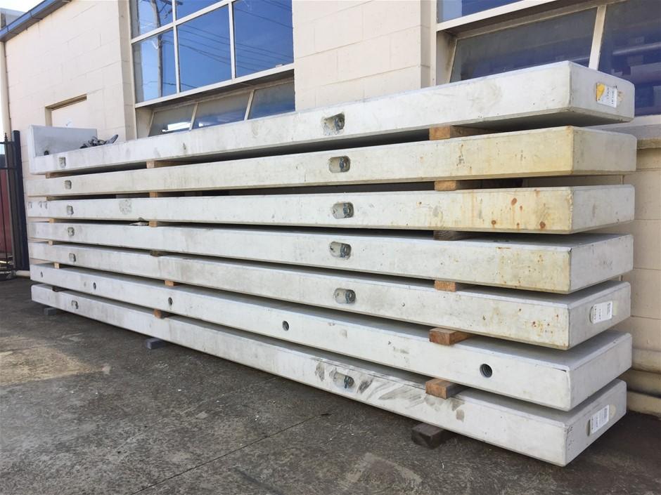 Concrete retaining wall panels, 6 x straight panels 5030mm x 580mm x 155mm.