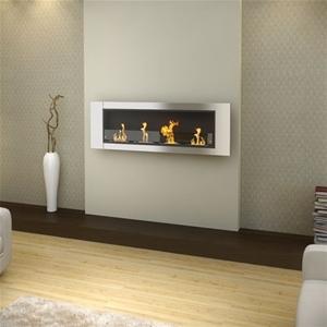 Aquaria Deluxe Wall Mounted Bio Ethanol Fireplace 4 Burner