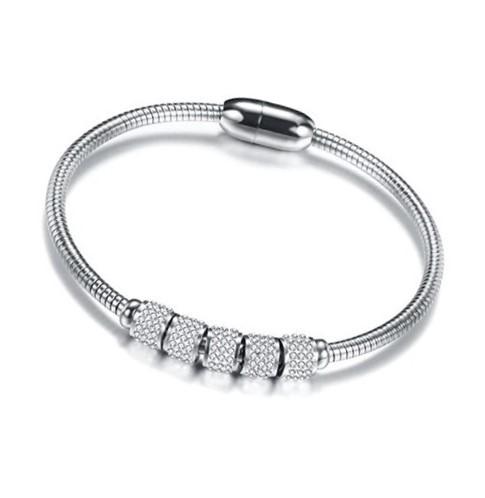 Simulated Diamond Circle Ring Magnetic Snake Bangle