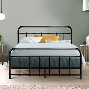 Metal Bed Frame Double Size - Black