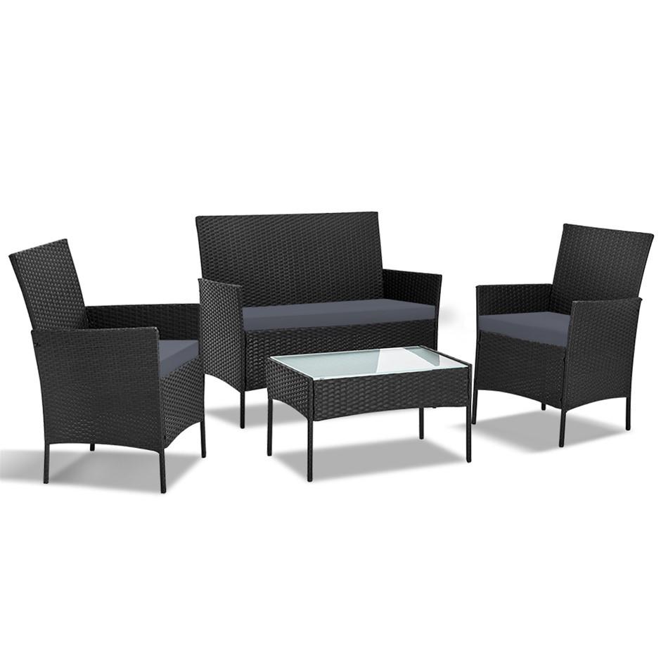 Gardeon 4-piece Rattan Outdoor Set - Black