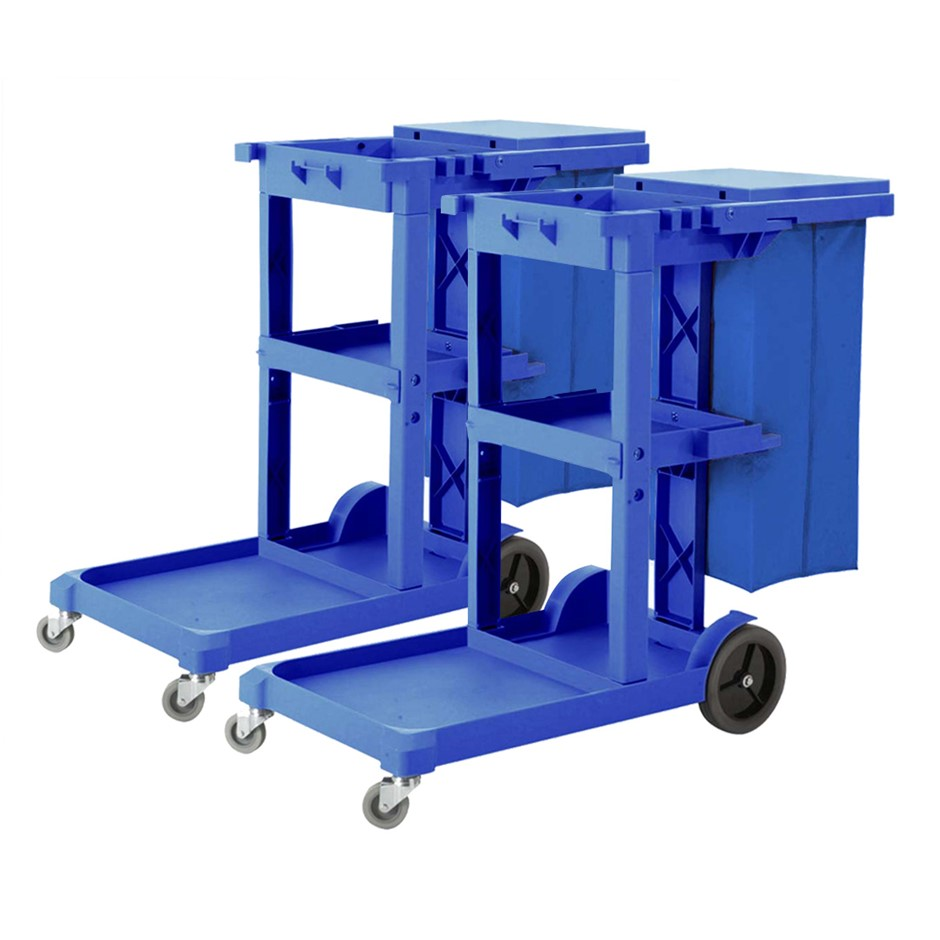 SOGA 2X 3 Tier Multifunction Cleaning Waste Cart Trolley and WP Bag w/ Lid
