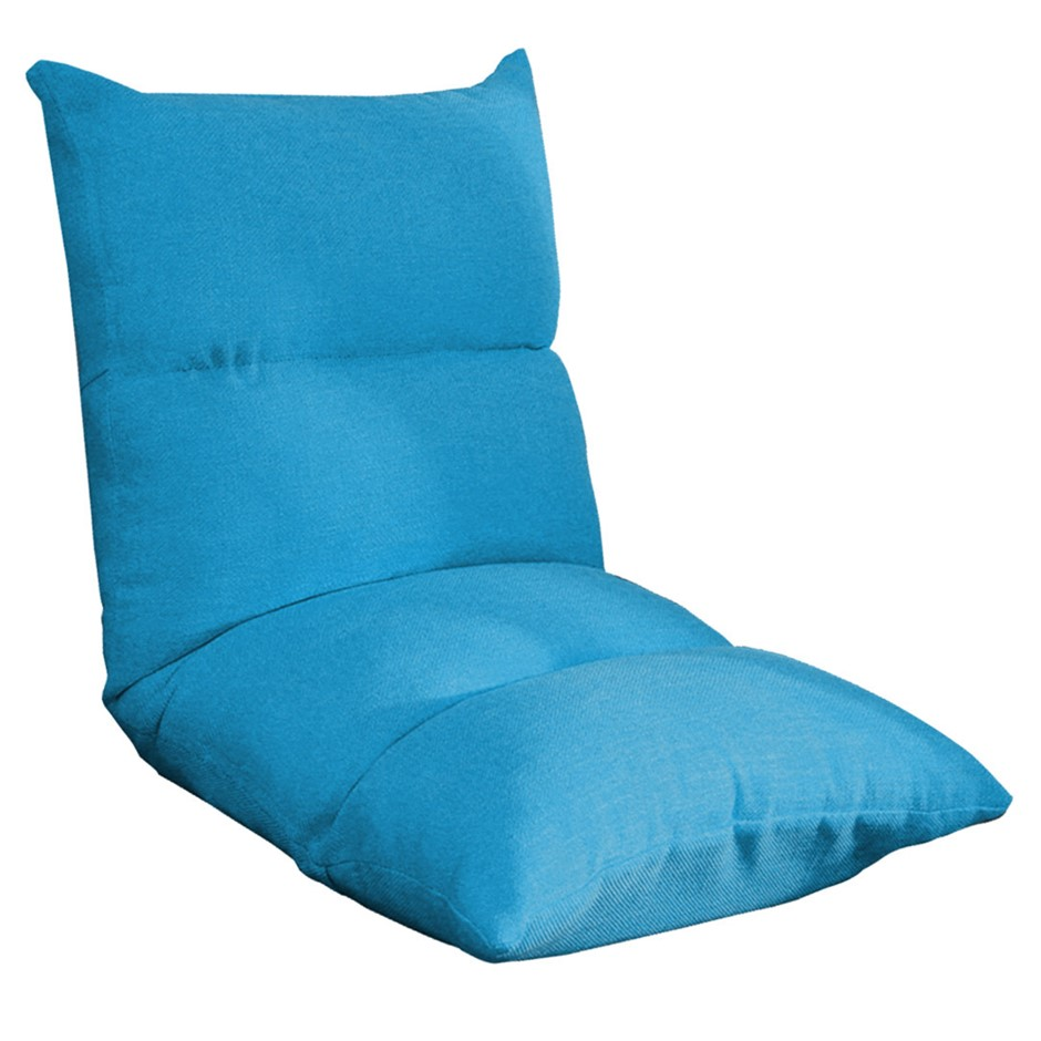 SOGA Lounge Floor Recliner Adjustable Lazy Sofa Bed Folding Game Chair Blue