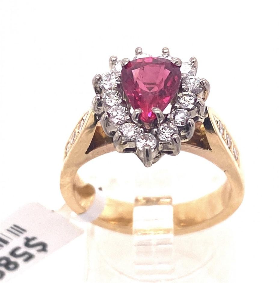 18ct Yellow gold ruby & diamond halo ring