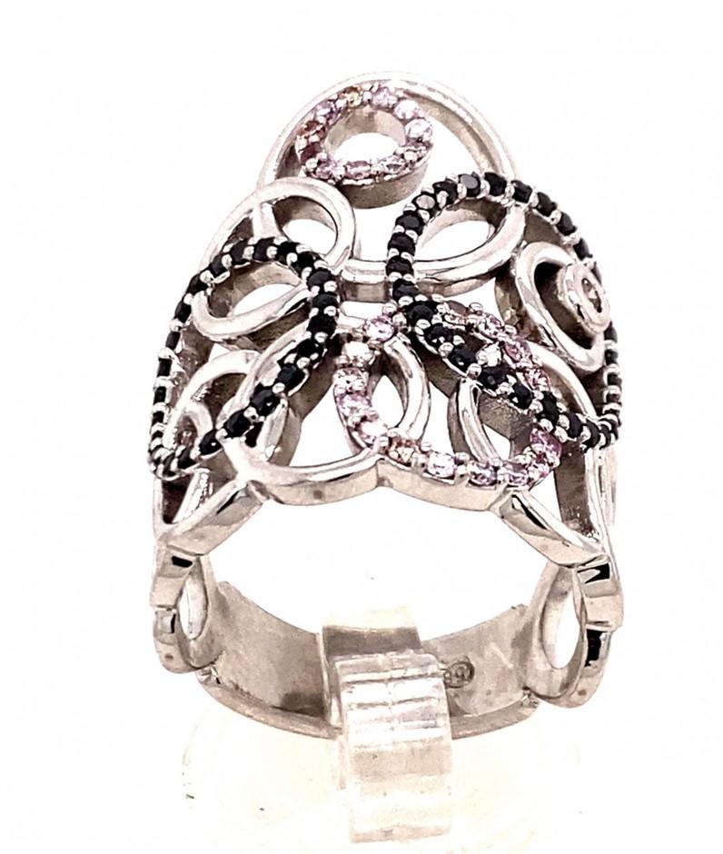 14ct white gold black & pink diamond circular design ring