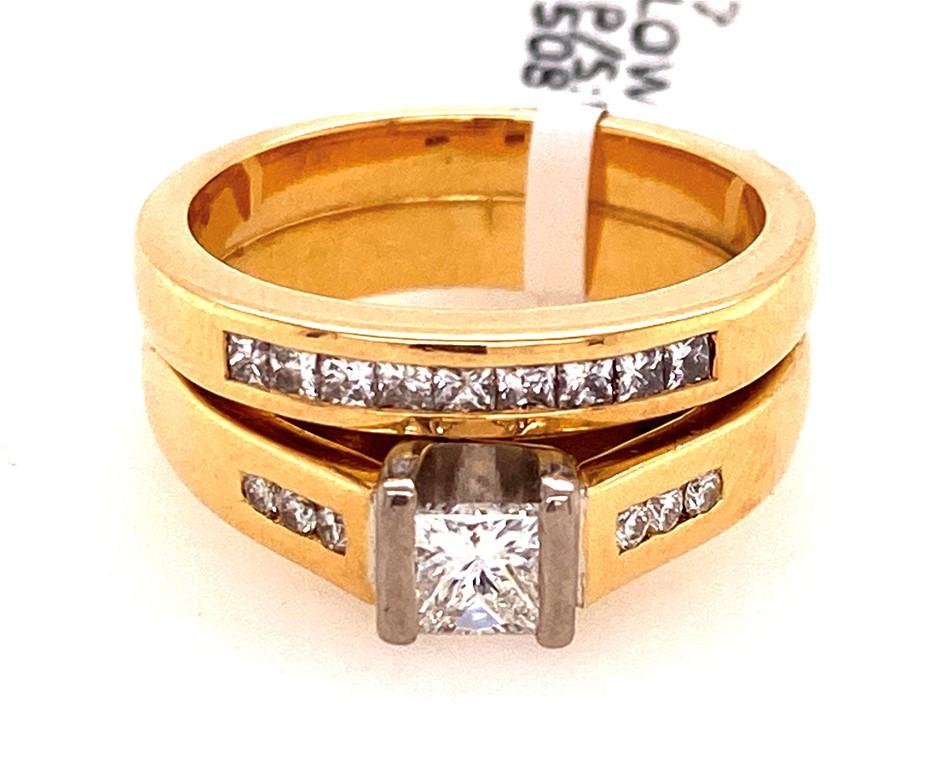 18ct yellow & white gold diamond 2 ring set