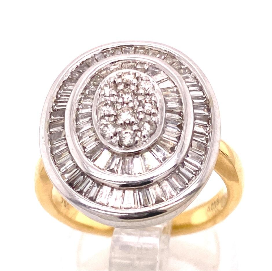 18ct Yellow/white gold 84 diamond cluster ring
