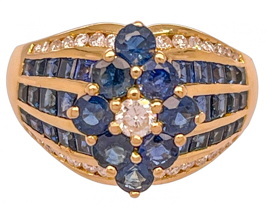 18ct yellow gold blue sapphire & diamond cluster ring