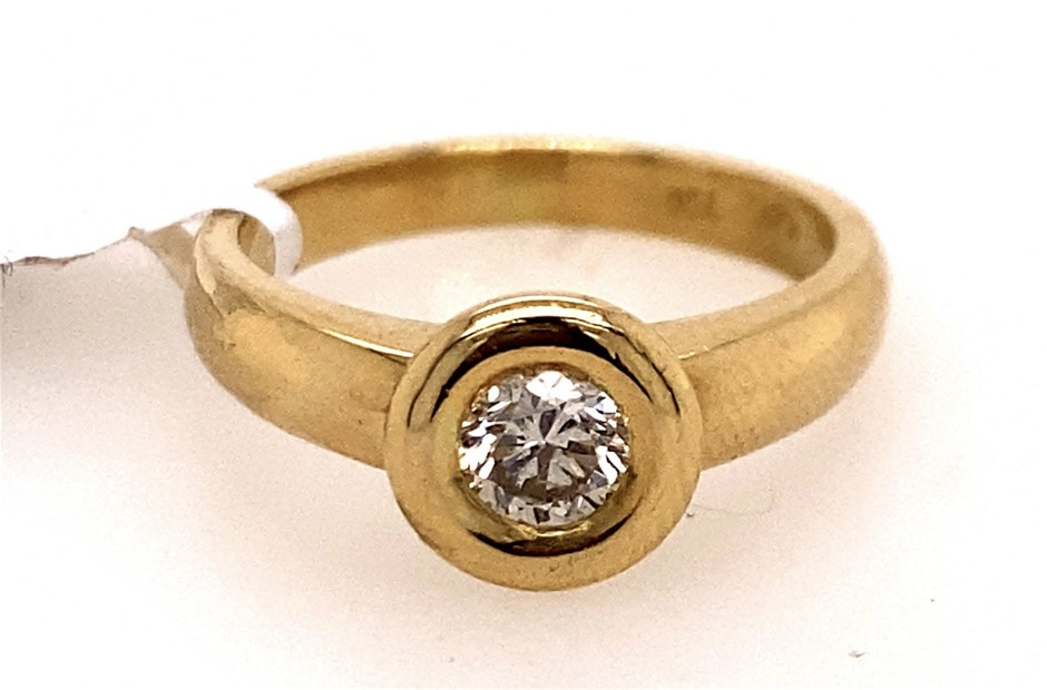 18ct yellow gold 0.30ct diamond solitaire ring