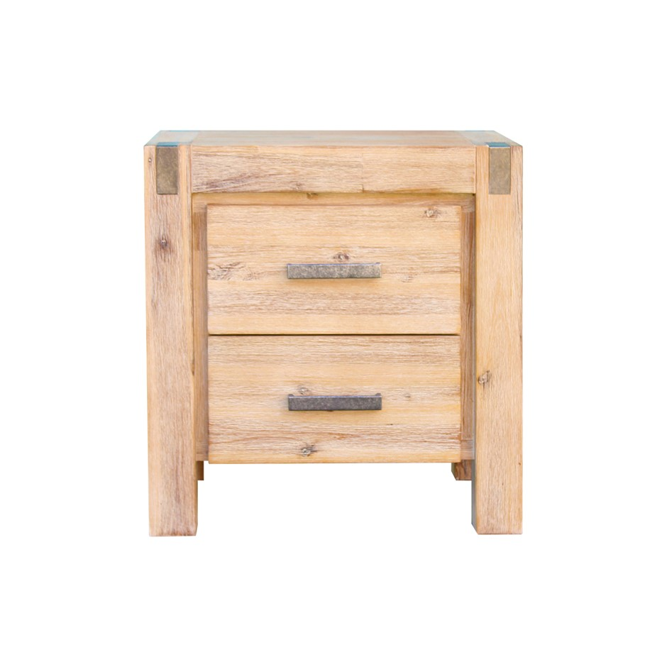 Bedside Table 2 drawers Night Stand Solid Wood Acacia Oak Colour