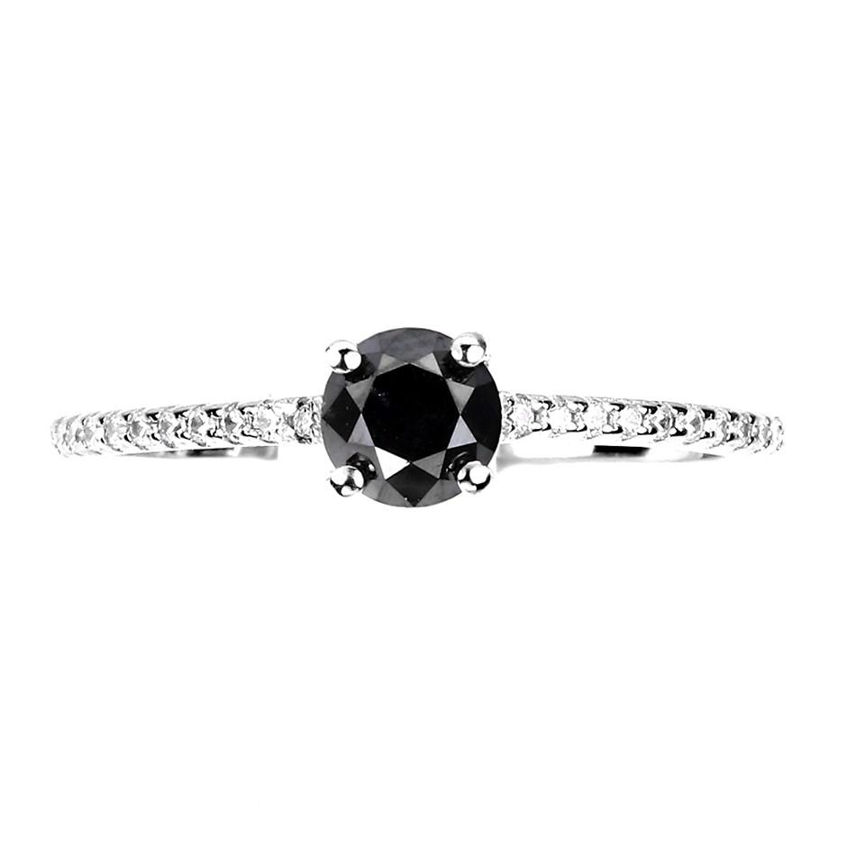 Glorious Genuine Black Diamond Engagement Ring.