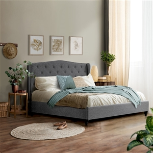 Artiss King Size Wooden Upholstered Bed
